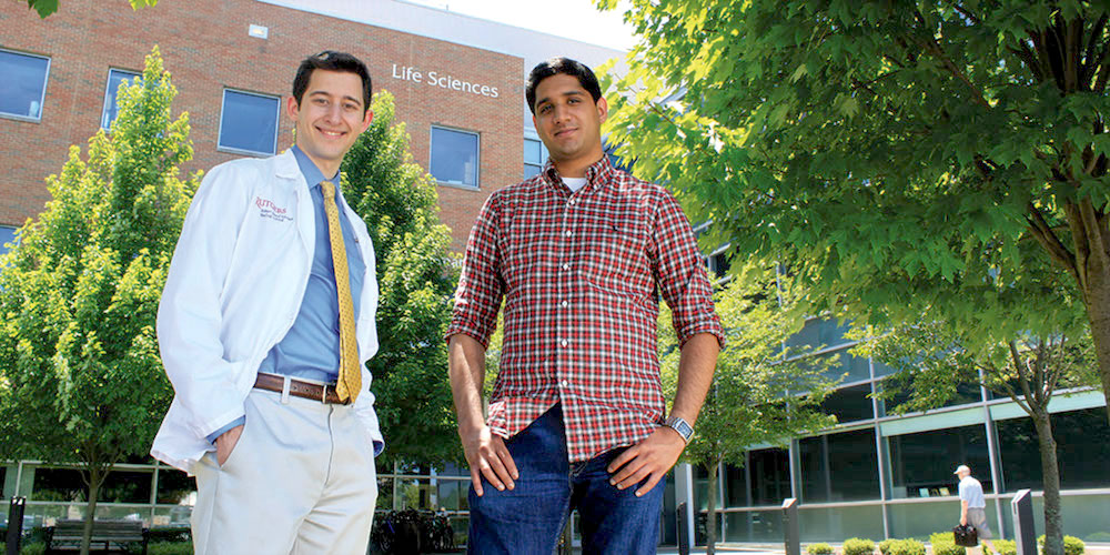 From left: Jared Reichenberg and Nikhil Jain say the Health Professions Office helps keep premed students on track.